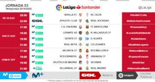 Horarios de la Jornada 3 de LaLiga Santander