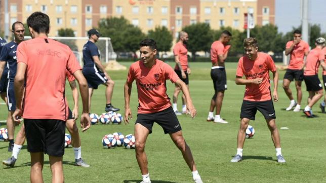 Jesús Navas, durante el primer entrenamiento del Sevilla FC en Estados Unidos en julio de 2019 (Foto: Sevilla FC)