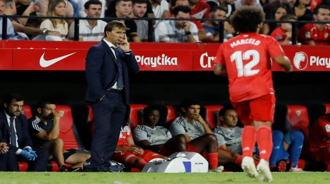 Lopetegui, durante el Sevilla-Madrid de 2018
