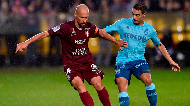 Ben Yedder, durante el partido Metz - Mónaco (Foto: AFP)