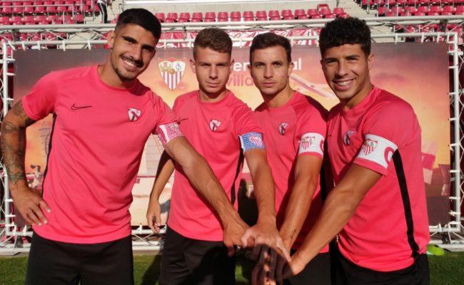 Berrocal, Amo, Chacartegui y Mena, capitanes del Sevilla Atlético 19-20 (Foto: CanteraSFC)