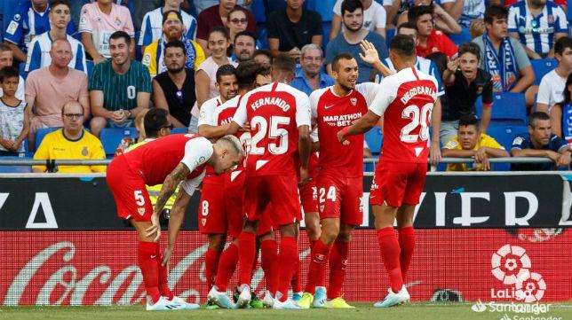 Celebración de los jugadores del Sevilla FC en la victoria ante el Espanyol. Foto: LaLiga