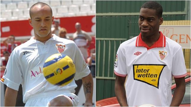 Chevantón y Kondogbia, el día de su presentación con el Sevilla FC