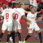 Jordán celebra su gol al Granada