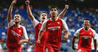 Nolito celebra su gol en el Espanyol-Sevilla (EFE)