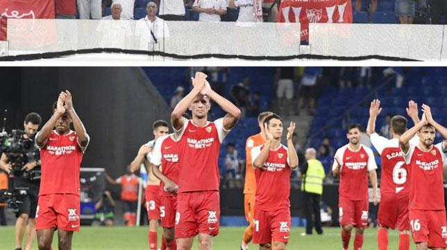 Los jugadores del Sevilla saludan a los aficionados nervionenses de Barcelona (Foto: SFC)