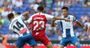 Reguilón, durante el Espanyol-Sevilla (Foto: SFC)