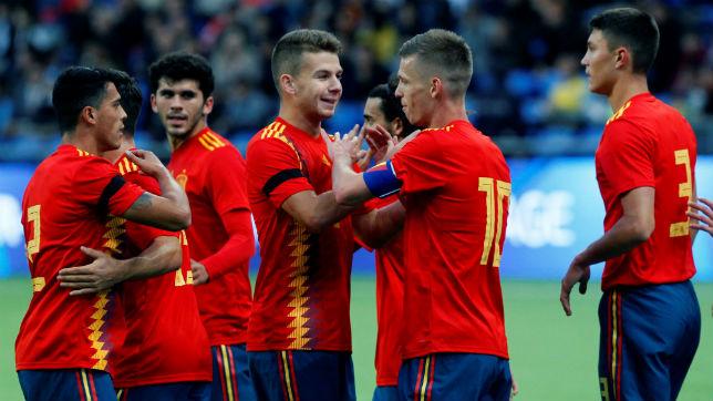 El sevillista José María Amo celebra el tanto de la Selección española sub 21 ante Kazajistán (EFE)
