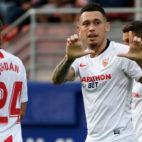 Ocampos celebra su gol en el Eibar-Sevilla (AFP)