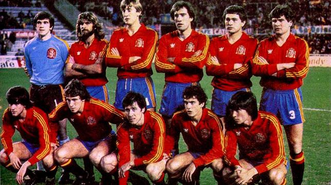 El once de España para enfrentarse a Holanda en el Sánchez-Pizjuán en 1983 de cara a la Eurocopa