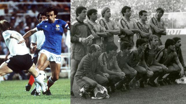 Platini, durante la semifinal del Mundial 86; a la derecha, el once del Barcelona antes de la final ante el Steaua, ambos partidos en el Sánchez-Pizjuán