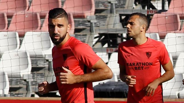 Dabbur, durante un entreanmiento del Sevilla FC (Foto: MANUEL GÓMEZ)