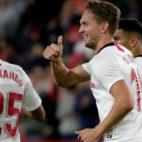 De Jong celebra su gol ante el Levante en la vuelta del equipo a LaLiga tras un parón de selecciones