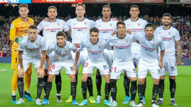 Once del Sevilla FC ante el Barcelona. Foto: LaLiga
