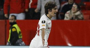 Bryan Gil celebra su gol en el Sevilla-Qarabag (Manu Gómez)