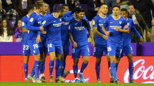 Celebración del gol de Banega de los jugadores del Sevilla FC ante el Valladolid. Foto: LaLiga