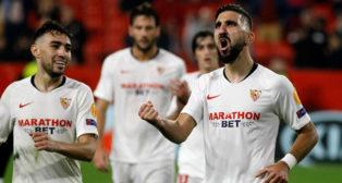 Dabbur celebra su gol en el Sevilla-Qarabag (Manu Gómez)
