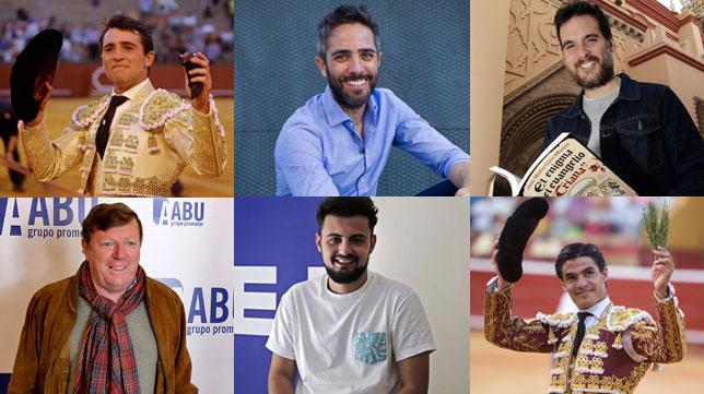 Arriba, Rafa Serna, Roberto Leal, Julio Muñoz Gijón; abajo, César Cadaval, Juan Amodeo y Pablo Aguado.
