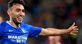Munir celebra uno de sus goles al Dudelange