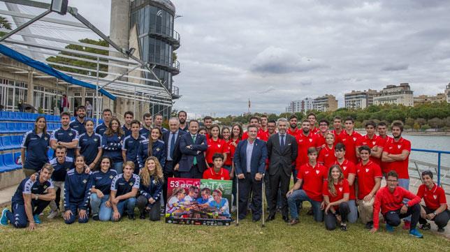 La presentación de los equipos de la Regata Sevilla - Betis en el Centro Especializado de Alto Rendimiento de la Isla de la Cartuja (Foto: Juan José Úbeda)