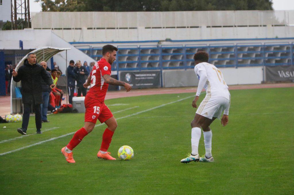 Álex Robles, durante el Marbella - Sevilla Atlético (Foto: Sevilla FC)