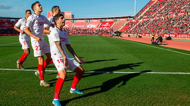 Banega celebra su gol en Mallorca (AFP)