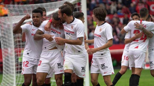 Celebración de los jugadores del Sevilla FC del gol ante el Leganés. Foto: Sevilla FC