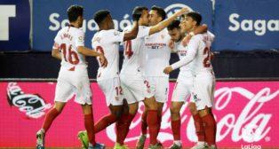 Celebración de los jugadores del Sevilla FC del gol de Munir ante el Osasuna. Foto: LaLiga