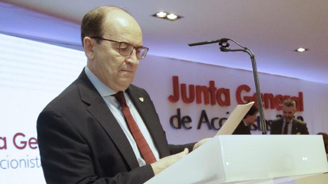 José Castro, presidente del Sevilla FC, antes de la junta de accionistas 2019 (Foto: Juan Flores).