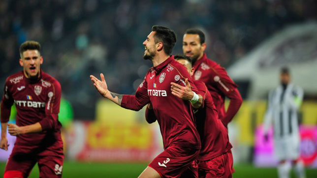 Los jugadores del Cluj celebran uno de los goles al Astra (Cluj)