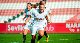 Raquel Pinel celebra su gol en el Sevilla FC - Madrid CFF (Foto: CFF)