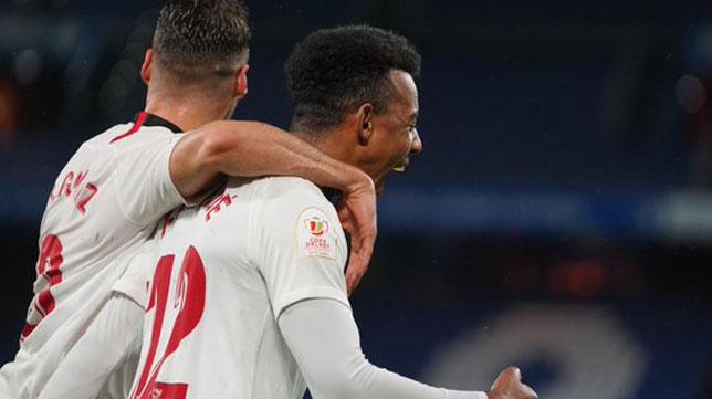Koundé celebra el gol anotado en la Copa del Rey ante el Bergantiños (Foto: Sevilla FC)