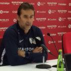 Julen Lopetegui, entrenador del Sevilla, en la sala de prensa.