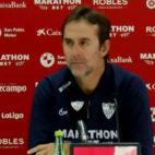 Julen Lopetegui, entrenador del Sevilla FC, en la sala de prensa del estadio Jesús Navas
