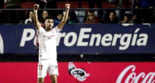Munir celebra su gol en el Osasuna-Sevilla (Foto: EFE).