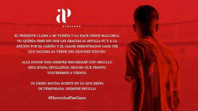 El mensaje de despedida de Alejandro Pozo del Sevilla