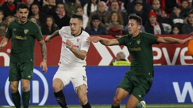 Ocampos, en un lance del Sevilla-Athletic (Manu Gómez)