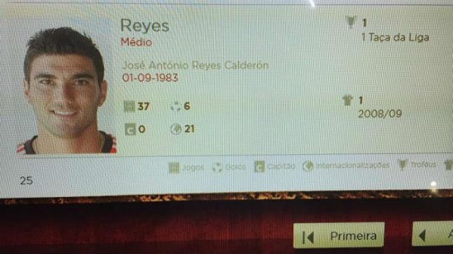 Reyes, en el monitor de la hemeroteca digital del museo del Benfica