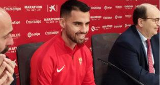 Suso, durante su presentación como nuevo jugador del Sevilla FC.