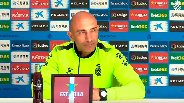 Abelardo, durante la rueda de prensa previa al Sevilla - Espanyol