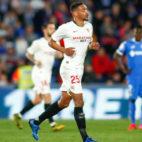 Fernando corre tras marcar el 0-2 ante el Getafe (E.P.)