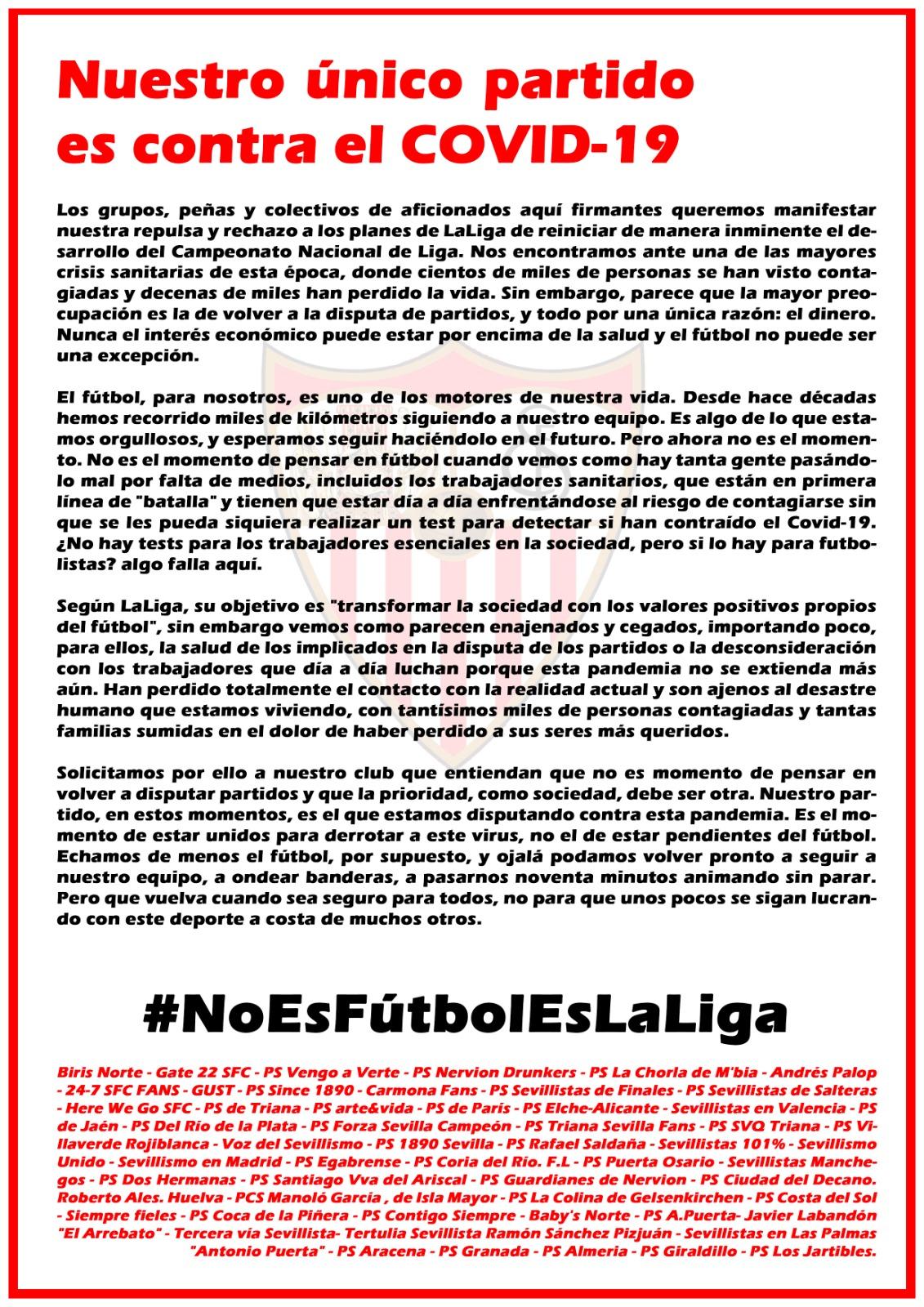 Comunicado de las peñas sevillistas contra el regreso precipitado del fútbol