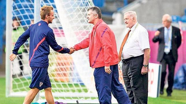 Suker y Rakitic durante una concentración de la selección de Croacia