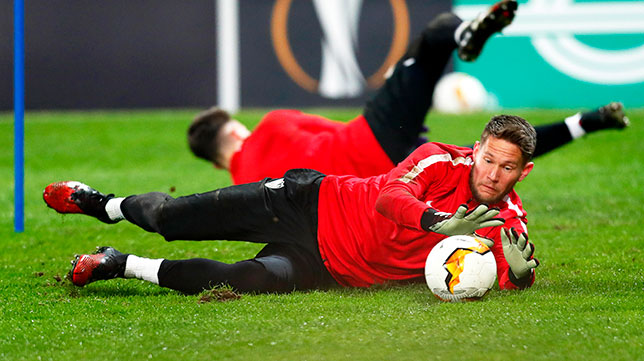 Vaclik, en un entrenamiento previo al Cluj - Sevilla (EFE)