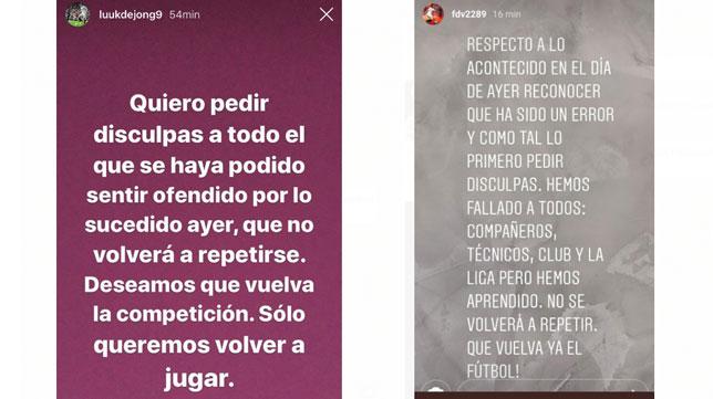La petición de perdón de De Jong y Franco Vázquez.