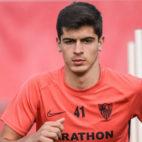 Juanlu, en el entrenamiento del primer equipo del Sevilla FC, a las órdenes de Lopetegui