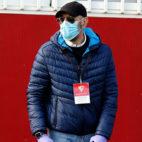 Monchi, en el entrenamiento del Sevilla FC