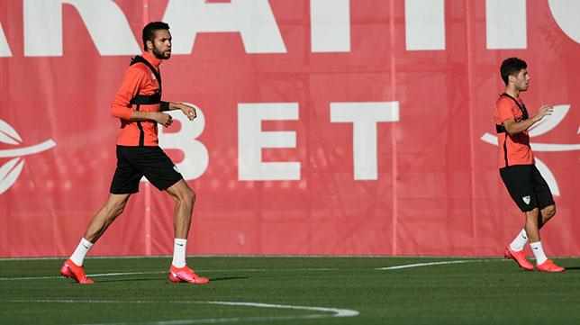 En-Nesyri, en el entrenamiento de este viernes 8 de mayo en la ciudad deportiva del Sevilla FC (SFC)