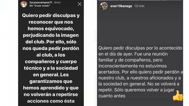La petición de perdón de Ocampos y Banega.