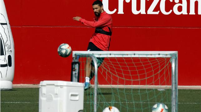 Navas, en un entrenamiento del Sevilla FC la semana pasada